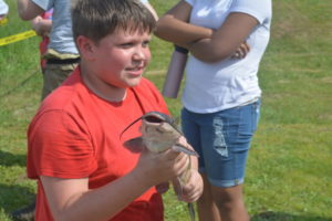 Coshocton Elementary School sixth grader Michael Mills showed a cat fish to his classmates during the AEP Conesville Plant Earth Day celebration on May 17. Josie Sellers | Beacon