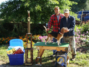 Winner: Pictured are Dan and Max Thornsley with the prize winning beagle Champy. Photo contributed to The Beacon