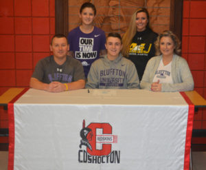 Coshocton High School senior Jacob Ramsey signed his letter of intent to play soccer at Bluffton University on Feb. 1 at CHS. Pictured in front from left are: Brent Ramsey, Jacob, Mandy Ramsey and in back are Luke Ramsey and Rachel Ramsey. Brent and Mandy are Jacob's parents and Luke and Rachel are his siblings. Josie Sellers | Beacon