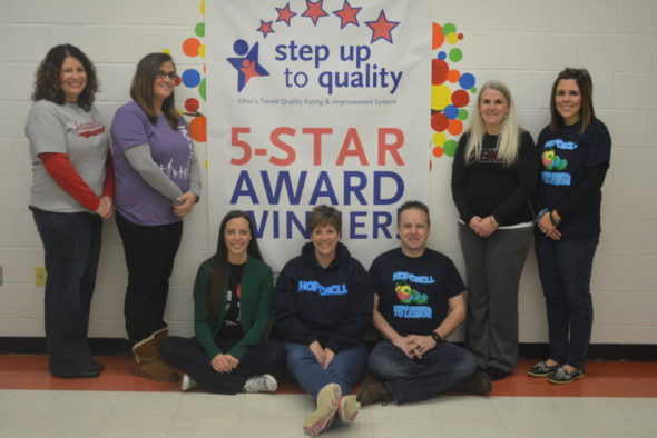 Hopewell School received a Five-Star Step Up To Quality Award from the state of Ohio. Pictured with Shannon Shontz, director of education, are Amanda Hittle, preschool teacher; Laura Emig, preschool teacher; Tina Parmiter, instructors assistant; Ben McCormick, preschool teacher; Tara Kehl, instructors assistant; and Nikki Crabtree, preschool teacher. Josie Sellers | Beacon