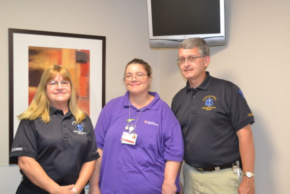 Donna Carpenter, EMS, Shikara Robbins, CRMR employee and Todd Shroyer, Director of the EMS, stand in the fully stocked EMS room at the Coshocton Regional Medical Center.