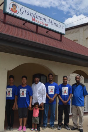 George Jones, with the help of family, is opening Grandma Minnie's Munchies on Thursday, July 28 at 1146 Walnut St. Pictured from left are Anna Jones, Martha Young, George Jones with Minnie Young, Isaiah Jones, Joshua Jones and Tim Jones.  Josie Sellers | Beacon