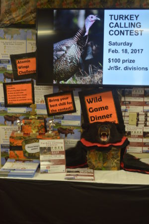 Chili Crossroads Bible Church has a display in its entryway showcasing information about its upcoming turkey calling contest and wild game dinner. Josie Sellers | Beacon