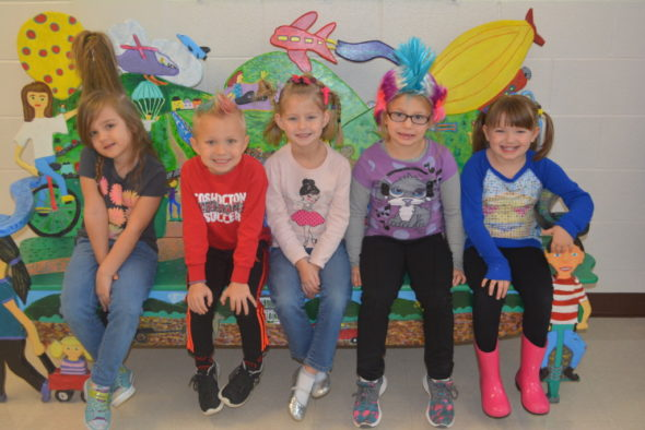 Kindergarteners got into the spirit of crazy hair day during United Way Week. Pictured from left are Harmony Fisher, Leo Laaper, Jaylee Alexander, Abigail Unkefer and Aubree Bantum. Josie Sellers | Beacon