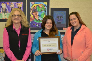 Pizza Hut received a community improvement award at the chamber's Jan. 22 quarterly meeting. Pictured are District manager Jodi Harshaw, Store Manager Marcella Blair and Local Sales Manager Laura Beltz. Beacon photo by Josie Sellers