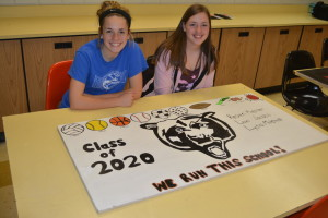 Kirsten Kiefner and Lexi Jacobs are pictured with the ceiling tile that Lydia Mitchell helped them create for an art club project at River View Junior High. Rodney Stein, advisor of the club, worked with the student on May 24 to get them hung up at the school. For more photos, visit www.coshoctonbeacontoday.com. Josie Sellers | Beacon