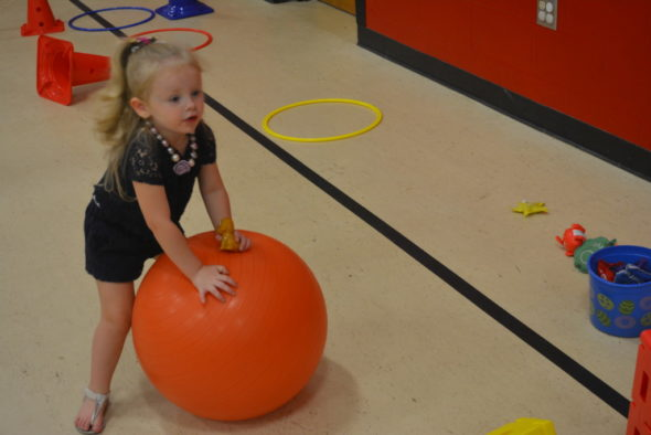 Briah Brickles enjoys some play time in the gym while taking part in the preschool transition program held at Hopewell School this summer. The program helped children involved in Hopewell Early Intervention prepare for the next step in their young lives.  Josie Sellers | Beacon