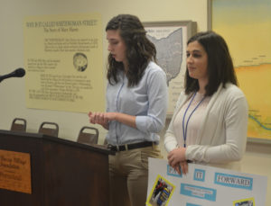 Coshocton County Youth Leadership Class of 2017 members were given $100 to use to make someone happy. Class members Liz Porteus and Tara Salmans decided to put their money together to help the local animal shelter. They presented on their project during their Feb. 15 program day. Josie Sellers | Beacon