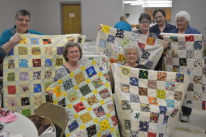 """The Coshocton Canal Quilters had a sewing day on March 25 to celebrate National Quilting Day and Month. One of the projects they worked on were """"I Spy"""" quilts for children. Pictured in front, from left are Debra Shaw and Janice Gould and in back are Bonnie Fortune, Patsy Cruxton, Mary Lampe and Cathy Wegener.  Josie Sellers 
