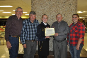 Honor: Long time River View FFA advisor Raymond Griffith was recognized at the November FFA and alumni meeting held at River View High School on Friday evening, Nov. 13 following a meeting of the school's chapter and dinner. Pictured are Bob Buxton who taught with Griffith and was an FFA advisor at RV from 1971-2005, current RV FFA advisor Jim Rich, RV FFA chapter President, Amy Johnson, RV FFA alumni President Walter Doughty and current RV FFA advisor Allyssa McMullen. Beacon photo by Mark Fortune
