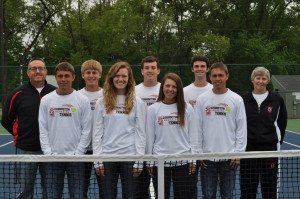 Tennis: Pictured left to right are: Coach Kevin Kittell, Sam Magness, Mitchell Milliken, Katie Tupper, Thomas Gauerke, Emily Hartley, Cameron Wiandt, Jim Magness and Asst. Coach Jonalee Roahrig. Beacon photo by Mark Fortune