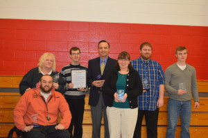 Awards were presented to seven individuals at the Developmental Disabilities Awareness Breakfast held March 4, at Hopewell School. The winners were from left are: Lucas McCoy, individual achievement; Wendy McMorrow, support professional; Ryan Quinlan, individual achievement; Dr. Charles Fornara, partner of the year; Kecia Buxton, volunteer; Cameron Tidrick, distinguished service; and  Charles Brenden Hall, youth volunteer. Beacon photo by Josie Sellers