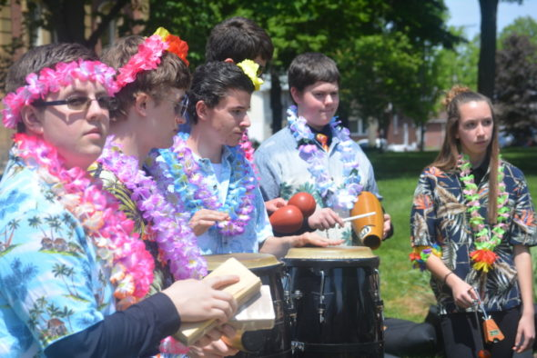 Members of River View High School's Caribbean Drum Ensemble performed on May 10 at the Dogwood Youth Arts Celebration on the court square. Josie Sellers | Beacon