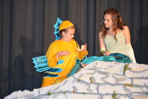 "Disney production: Flounder, also known as Morgan Anglin, and Ariel, better known as Olivia Welch, react to a human item that was found during one of the scenes in ""The Little Mermaid."" The River View High School Music Department is presenting the Disney musical on Friday and Saturday, April 29-30. Beacon photo by Josie Sellers"