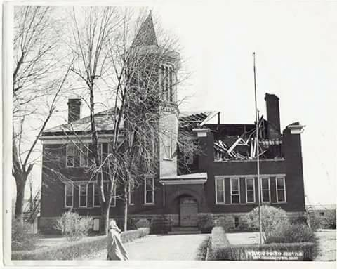 Photo of Newcomerstown East School taken in 1955 after tornado touchdown