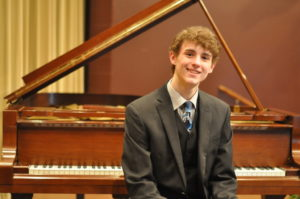Grant Cullison won the senior division of the Edward E. Montgomery Jr. Piano Competition held Sunday evening, April 2 at the Triple Locks Theater in Roscoe Village.  Mark Fortune | Beacon