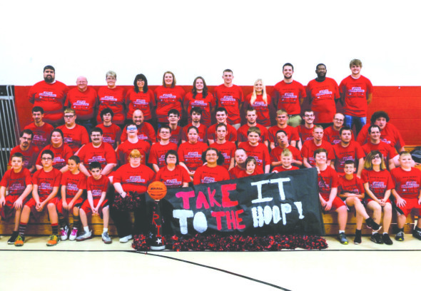 Team: Pictured are the athletes, coaches and cheerleaders involved with Hopewell basketball for the 2015-2016 season. Hopewell once again had enough athletes to field two teams and a skills team. Photo contributed to The Beacon