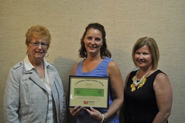 The Coshocton County Master Gardeners were awarded with a Community Improvement Award at the Coshocton County Chamber of Commerce quarterly luncheon, held on Thursday, July 23 at the Johnson-Humrickhouse Museum in Roscoe Village. Pictured left to right are: Betty Williams, Master Gardener, Tammi Rogers, Master Gardener and Amy Stockdale, Chamber of Commerce Executive Director.