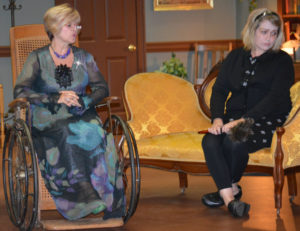 """Shelly Lillibridge and Michelle Kittel practice a scene from """"Web of Murder"""" which is being performed at the Triple Locks Theater. Josie Sellers 