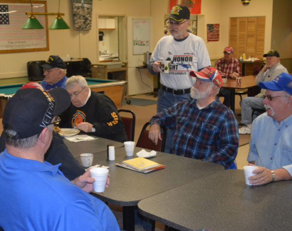 Members of the Coshocton County Vietnam Veterans group wrap up breakfast before starting their business meeting on March 11 at the American Legion Post 65 on Main Street. The Legion offered to let the group use their building for meetings since they were currently meeting at a local restaurant. Josie Sellers | Beacon