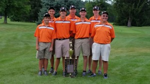 Golfers: Ridgewood High School's Varsity Boys Golf team was named Coshocton County Cup Champions on Aug. 6. Photo contributed to The Beacon