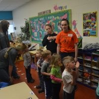 RHS softball team visits Hopewell School