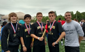 The River View Jr. High School boys and girls track teams attended the Division 2 Ohio Middle School State Track Meet on May 21, where the boys' 4x100 meter relay team placed first. Pictured from left are relay team members Brendan Shrimplin, Jacob Clark, Andrew Martin, Devin Barnett and Coach Brandon Adams. Contributed | Beacon