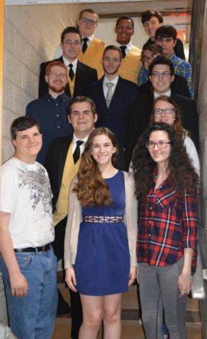 Pictured are several of the graduating seniors in the Coshocton Youth Chorale, From the bottom left to right: Noah Kaser, Maggie Myers, Emma Hildreth, Michael Belt, Gretchen Lozowski, Jacob Heading, DJ Esselburn, Jordan Conner, Nathan Moses, Everett Hall, Shawn Smalley, Michael Border, Jadyn Cline, and Daniel Cullison. Contributed | Beacon