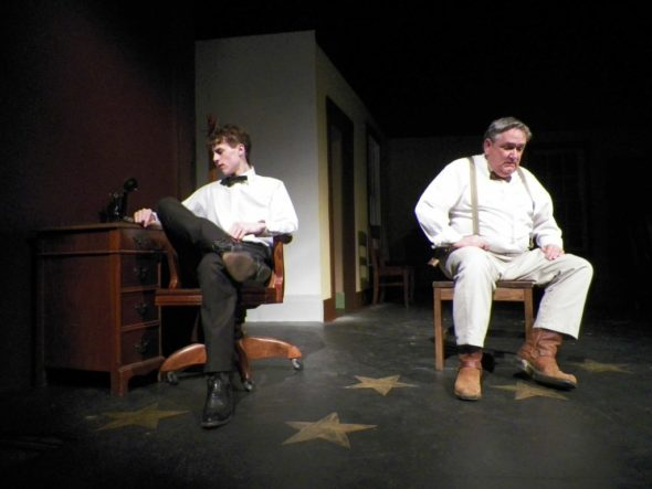 """Cast members of """"The Rainmaker"""" are pictured practicing a scene from the play that opens March 3 at the Triple Locks Theater."""