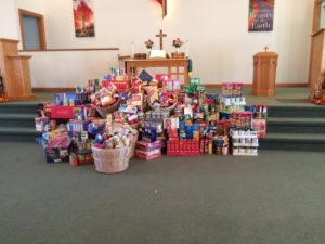The congregation at Prairie Chapel Church donated non-perishable food items for the food pantry at New Life Ministries. Contributed | Beacon