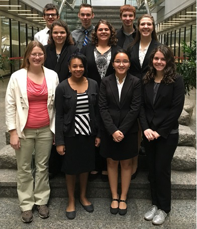 2015-16 Coshocton County Mock Trial Team Silver included Sarah Kittner, Meredith Stamper, Aselya Sposato, Jordon Conner, Lexi Huston, Sarah Holmes, Harmony Montgomery, Abigail Ambrose, Jarrett Brenneman, and Justin Conner. Names are not in order.
