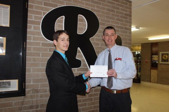 River View High School senior Will Fornara, left, is a National Merit Scholarship winner. He is pictured here with Chuck Rinkes, who is the principal at RVHS. Contributed | Beacon