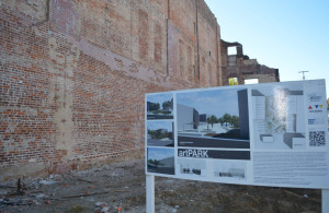 Wall: The brick wall at the artPARK that is shared with the Civic Hall on Main Street has been fixed and the Pomerene Center for the Arts is now ready to move on to the next phase of turning the empty lot into an art park. Beacon photo by Josie Sellers