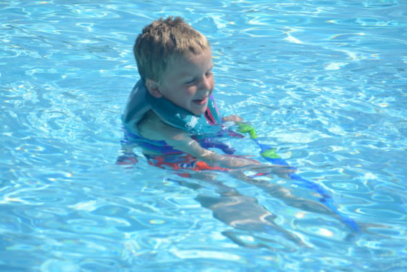 Lucas Croghan was one of several children who enjoyed the new pool at the Coshocton KOA Campground on a sunny afternoon. Josie Sellers | Beacon
