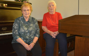 Musicians: Shirley Starker and her mother Evelyn Lowe have faithfully played the piano and organ respectively at Clark Community Presbyterian Church for several years now. Starker is 80 and Lowe is 99 and they plan to play as long as the church needs them. Beacon photo by Josie Sellers