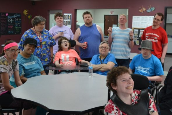 Hopewell Industries artists who will have their projects displayed at the West Lafayette Branch Library through the month of July are left to right - sitting: Dorothy, Rita, Judy, Sharon, Doug, Samantha; standing - Beth, Casey, Rob, Michael, and Kyle. Jen Jones | Beacon