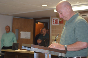 Kent Arnold takes a moment to collect his thoughts before addressing all those who gathered for his retirement party on June 24. Arnold retired from McWane Ductile after 47 years of employment. Josie Sellers | Beacon