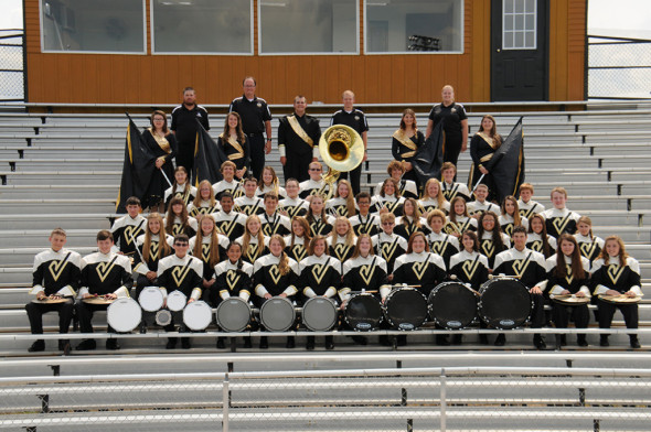 RVHS Marching Black Bears: Michael Belt, Allanis Absten, Hallee Anderson, Sarah Eick, Sarah Holmes, Sarah Kittner, Kimberly Croup, Lisa Johansson, Augusta Kinzel, Rachelle Lewis, Xavier Lewis, Althea Szabo, Jenna Daugherty, Will Fornara, Danielle Newman, Josh Tate, Raynor Shoemaker, Grant Cullison, Kyle Fabian, Elizabeth Ferris, Ryan Gildow, Nick Grashel, Everett Hall, Alexis McCormick, Samantha Mercer, Meredith Stamper, Olivia Evert, Garrett Fabian, Josie Fornara, Jarod Kaufman, Morgan Lawrence, Cameron St. Germaine, Michael Border, Gretchen Lozowski, Kay-Lee Smailes, Aselya Sposato, DJ Esselburn, Zach Timmons, Shelby Barnett, Andrea Barnett, Nicole Baker, Adam Croup, Kasey Croup, Henry Hall, Roy Hall, Brett Kinzel, Jesse Shoemaker, Nathaniel Stamper, Abigail Ambrose, Daniel Cullison, Hunter Fabian, Devon Fortune, Bradin Hastings, Rya Kron, Jaina Royer, Julia Royer, James Stewart, Annie Bosson, Sydney Minton, Tyler Philips, Megan Salmons, Sami Trowbridge. (Names are not necessarily in order of appearance.) Photo contributed to The Beacon by Lifetouch School Studios Inc.
