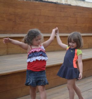 Sophia Sellers and Kennedy Carter enjoyed music being played by Ohio Joe and The Continental Drifters at family night in the Coshocton artPARK. The 3-year-olds were attending the event with family and quickly bonded while dancing to the music. Josie Sellers | Beacon