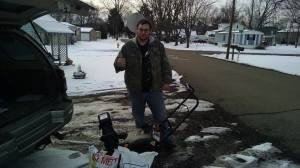 Gift: James Stull has been helping the elderly, veterans and disabled clear their sidewalks and driveways of snow. He originally started his work with just a shovel, but community members pitched in and bought him a new snow blower and bags of Ice Melt. Photo contributed to The Beacon