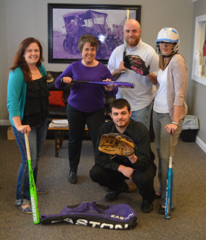 Play ball: The staff at Kyle Libby State Farm is pictured showing off some of the baseball and softball equipment they have collected to share with the community. Pictured in front is Dillan Shepler and in back are Jessie Tubbs, Sherri Matis, Kyle Libby, and Brittany Bailey. Missing from the picture is staff member Jen Vensil. Beacon photo by Josie Sellers