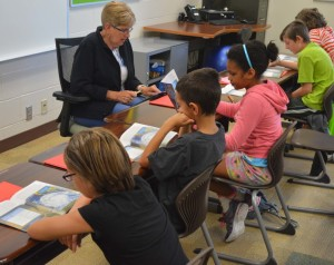 Peggy Bowman, a fifth grade teacher at Coshocton Elementary School is pictured teaching a session of summer school on Wednesday, June 29. Josie Sellers | Beacon
