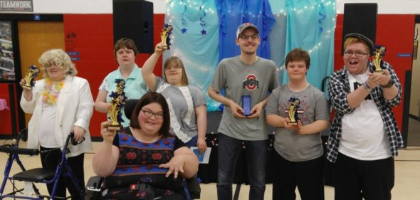 The winners from the Coshocton County Board of Developmental Disabilities Talent Show are, pictured from left - Tannen Huebner, Casey Jones, Brittany Sturgeon, Faith Williams, Jalen Berry, Scott Balentine and Zachary Ruckman. Jen Jones | Beacon
