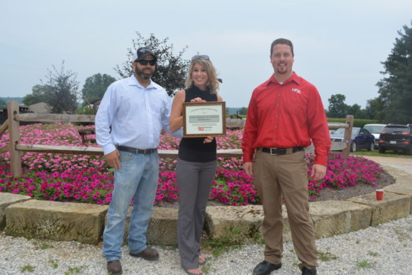 Jason and Carley Thompson received the Community Improvement Award at the quarterly chamber luncheon on Thursday, July 27 for their new business, HER Realtor. Beth Scott | Beacon