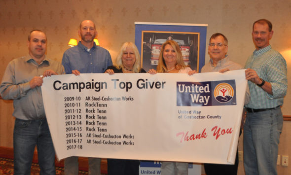 AK Steel received the top giver award during United Way of Coshocton County's annual breakfast meeting on Feb. 16 at Coshocton Village Inn & Suites. Pictured from left are Dick Bechtol, Troy Balo, Sue Tubbs, Debbie Pennybaker, Tim Rohr and Kurt Knicely. Mark Fortune | Beacon
